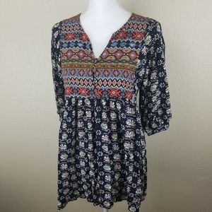 Umgee Colorful Tunic Boho Top Size Small